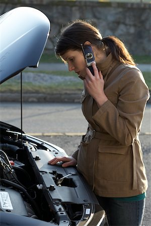 stalled car - Woman With Car Trouble Stock Photo - Rights-Managed, Code: 700-01194739