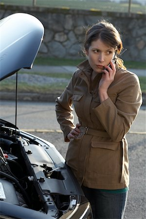 stalled car - Woman With Car Trouble Stock Photo - Rights-Managed, Code: 700-01194740