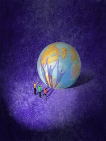 Illustration of People Standing in Front of Globe Stock Photo - Rights-Managed, Code: 700-01195953