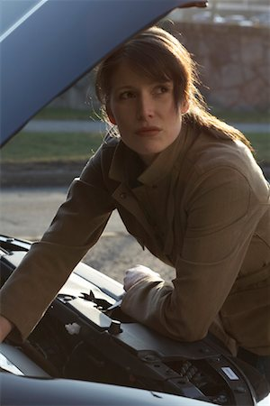stalled car - Woman Having Car Trouble Stock Photo - Rights-Managed, Code: 700-01198795