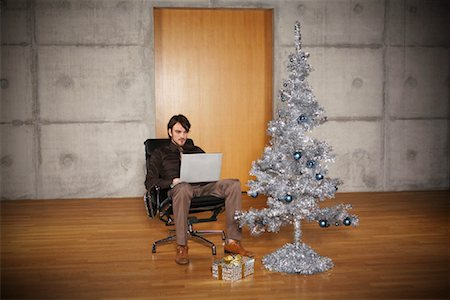 silver box - Portrait of Man with Christmas Tree Stock Photo - Rights-Managed, Code: 700-01223825