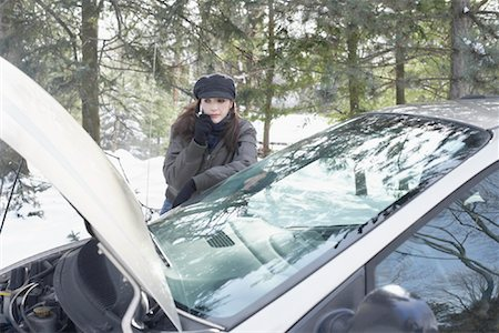 stalled car - Woman Having Car Trouble Stock Photo - Rights-Managed, Code: 700-01235324