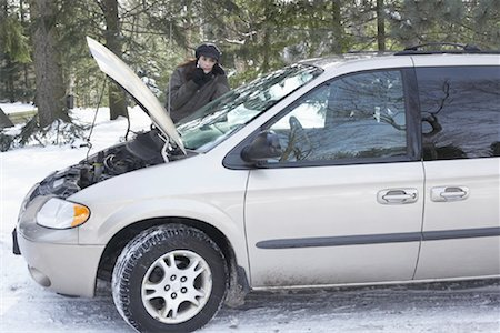 stalled car - Woman Having Car Trouble Stock Photo - Rights-Managed, Code: 700-01235325