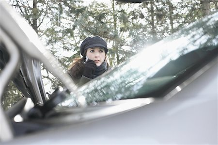 stalled car - Woman Having Car Trouble Stock Photo - Rights-Managed, Code: 700-01235326