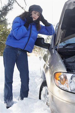 stalled car - Woman With Car Trouble Stock Photo - Rights-Managed, Code: 700-01235320