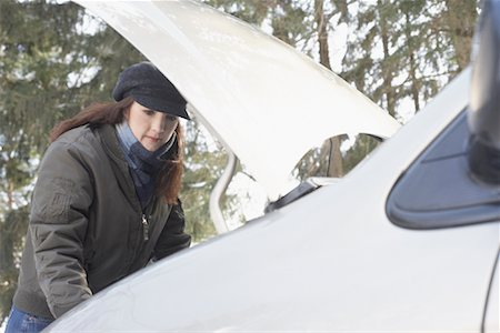stalled car - Woman Having Car Trouble Stock Photo - Rights-Managed, Code: 700-01235323