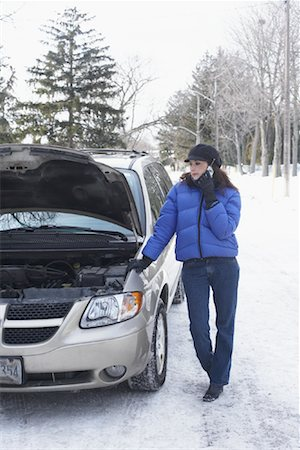 stalled car - Woman Using Cellular Phone by Car Stock Photo - Rights-Managed, Code: 700-01235334