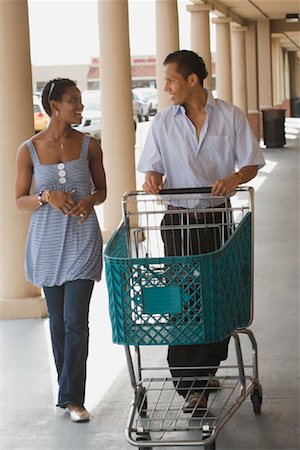 empty shopping cart - Couple Grocery Shopping Stock Photo - Rights-Managed, Code: 700-01236515