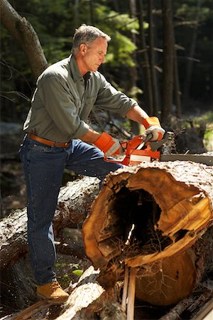 Man Cutting Wood With Chainsaw Stock Photo - Rights-Managed, Code: 700-01236657