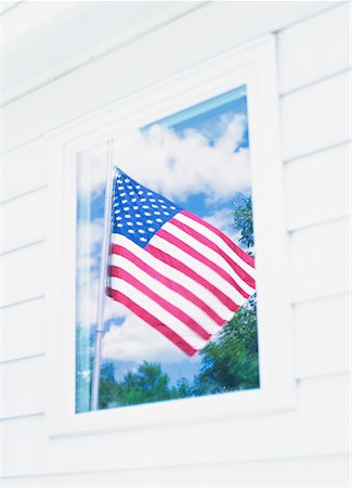 Reflection of American Flag in Window Stock Photo - Rights-Managed, Code: 700-01248008