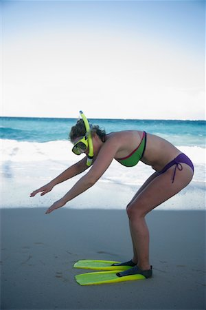 Woman Wearing Snorkeling Gear, At the Beach Stock Photo - Rights-Managed, Code: 700-01249079