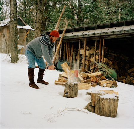 Man Chopping Firewood, South River, Ontario, Canada Stock Photo - Rights-Managed, Code: 700-01260103