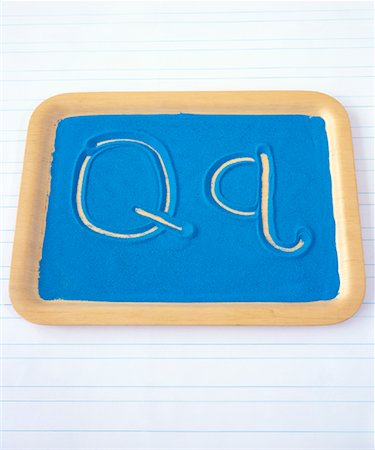 Tray of Sand and the Letter Q Stock Photo - Rights-Managed, Code: 700-01275949