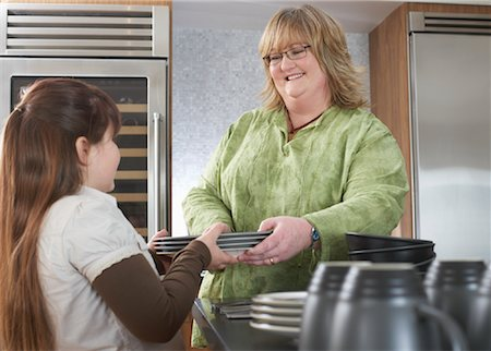 Girl Helping Mother with Dishes Stock Photo - Rights-Managed, Code: 700-01345052