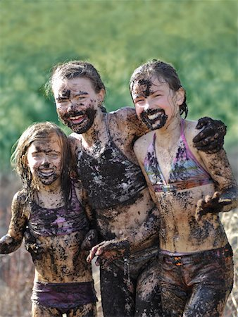 Girls Covered in Mud Stock Photo - Rights-Managed, Code: 700-01464620