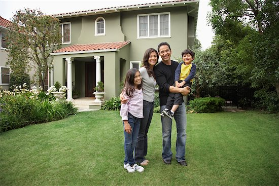 Portrait of Family in Front of House Stock Photo - Premium Rights-Managed, Artist: Mark Leibowitz, Image code: 700-01585855