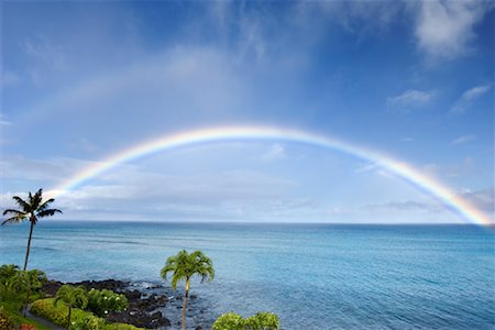 elements (weather) - Rainbow Over Ocean, Maui, Hawaii, USA Stock Photo - Rights-Managed, Code: 700-01585964