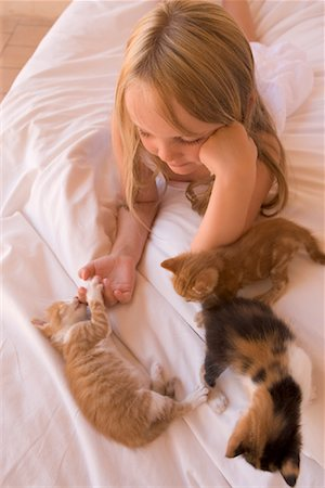 preteen girl pussy - Girl with Kittens Stock Photo - Rights-Managed, Code: 700-01587348