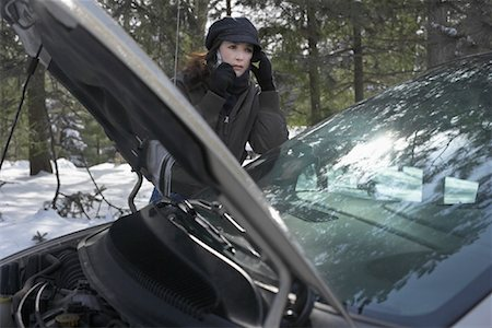 stalled car - Woman with Broken Down Vehicle Stock Photo - Rights-Managed, Code: 700-01607377