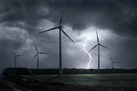elements (weather) - Wind Turbines in Storm Stock Photo - Rights-Managed, Code: 700-01632825