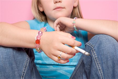 Girl Smoking Cigarette Stock Photo - Rights-Managed, Code: 700-01633214