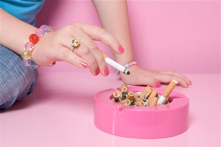 Girl Smoking Cigarette Stock Photo - Rights-Managed, Code: 700-01633213