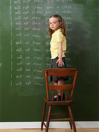Girl Writing Lines on Chalkboard Stock Photo - Rights-Managed, Code: 700-01646333