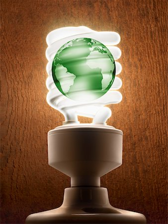 Compact Flourescent Light Bulb with Earth Stock Photo - Rights-Managed, Code: 700-01694234