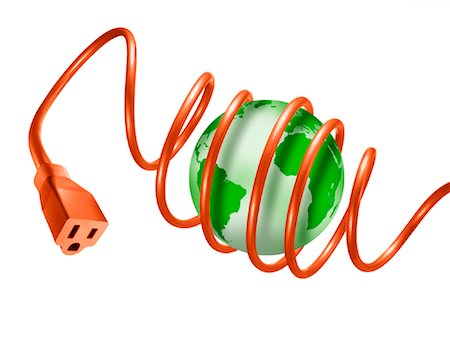 Extension Cord Wrapped Around Globe Stock Photo - Rights-Managed, Code: 700-01694250