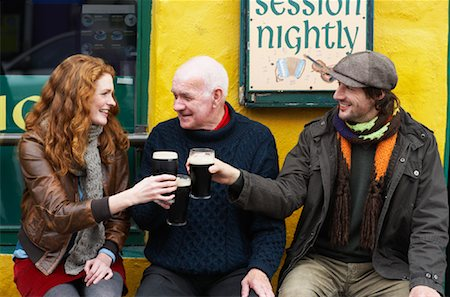 Couple and Man by Pub, Ireland Stock Photo - Rights-Managed, Code: 700-01694912