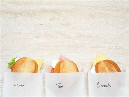 sandwich wrapper - Three Sandwiches in Paper Bags Stock Photo - Rights-Managed, Code: 700-01716556