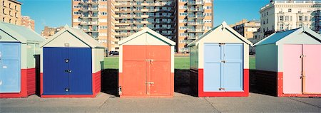 Beach Huts at Brighton Beach, East Sussex, England Stock Photo - Rights-Managed, Code: 700-01764321