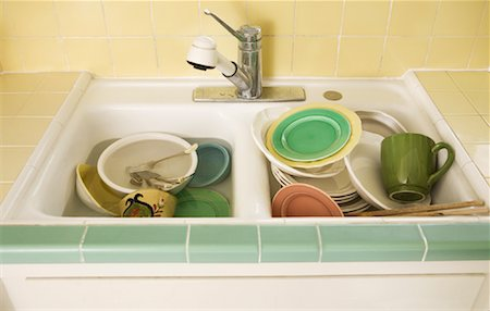 Dirty Dishes in Sink Stock Photo - Rights-Managed, Code: 700-01787528