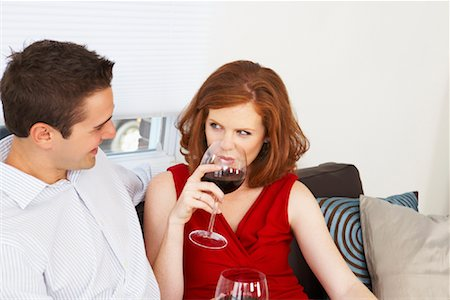sexually aroused woman - Couple Drinking Wine Stock Photo - Rights-Managed, Code: 700-01792366