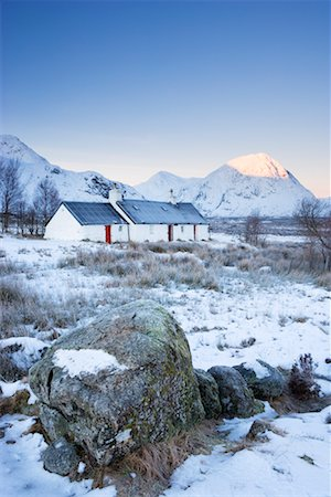Black Rock Cottage at Dawn, Rannoch Moor, Near Glen Coe, Scotland Stock Photo - Rights-Managed, Code: 700-01827267