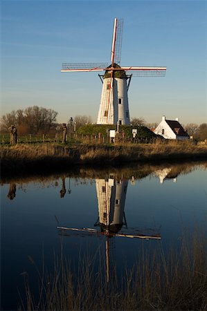 Reflection of Windmill in Canal, Damme, West Flanders, Belgium Stock Photo - Rights-Managed, Code: 700-01838639