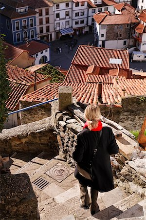 Woman Descending Stairs, Cudillero, Asturias, Spain Stock Photo - Rights-Managed, Code: 700-01878881