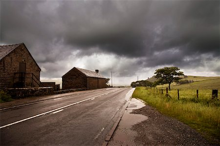 elements (weather) - Storm Clouds Over Rural Road and Farm, United Kingdom Stock Photo - Rights-Managed, Code: 700-01954174