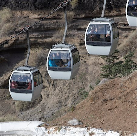santorini island - Passengers in Cable Cars, Santorini, Greece Stock Photo - Rights-Managed, Code: 700-01955732