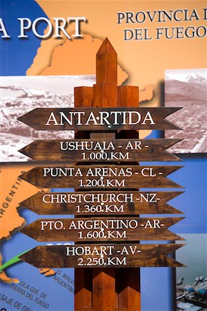 Destination Signs, Ushuaia, Patagonia, Argentina Stock Photo - Rights-Managed, Code: 700-01953974