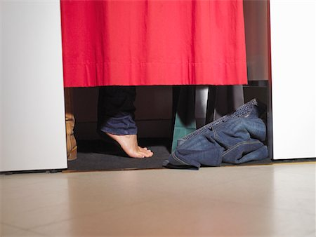 Woman Trying on Pants in Dressing Room Stock Photo - Rights-Managed, Code: 700-02010614