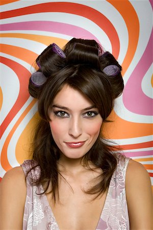 Portrait of Woman in Hair Curlers Stock Photo - Rights-Managed, Code: 700-02010661