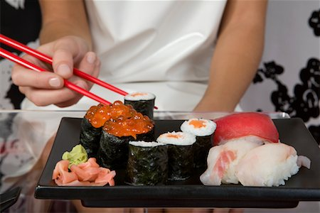 Woman Eating Sushi Stock Photo - Rights-Managed, Code: 700-02010675