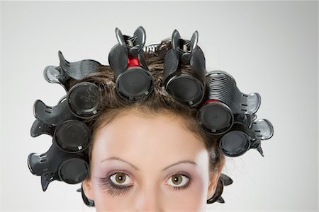Portrait of Woman With Hair in Rollers Stock Photo - Rights-Managed, Code: 700-02038120