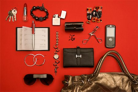 Still Life of Purse and It's Contents Stock Photo - Rights-Managed, Code: 700-02055614