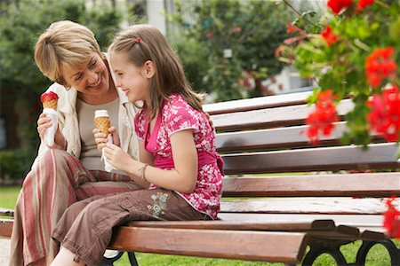 families eating ice cream - Grandmother and Granddaughter Having Ice Cream Cones Stock Photo - Rights-Managed, Code: 700-02056032