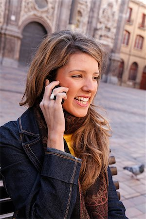Portrait of Woman with Cellular Phone, Zaragoza, Spain Stock Photo - Rights-Managed, Code: 700-02063690