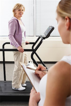 rehabilitation - Woman using Treadmill with Physiotherapist Checking Progress Stock Photo - Rights-Managed, Code: 700-02071768