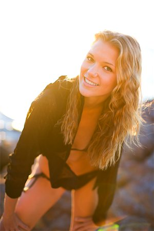 Portrait of Woman on the Beach, Malaga Cove, Palos Verdes, California, USA Stock Photo - Rights-Managed, Code: 700-02080859
