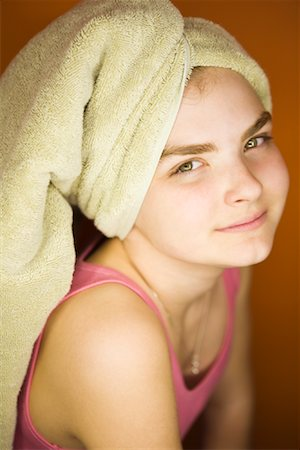 preteens shower - Portrait of Girl With Towel Wrapped Around Hair Stock Photo - Rights-Managed, Code: 700-02082095
